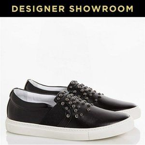 Lanvin Leather Studded Slip-On Sneakers